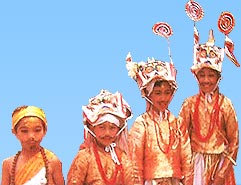 Children dressed-up as a cow on Gai Jatra